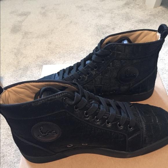 a5cc73a42886 Men s Christian Louboutin black croc high tops